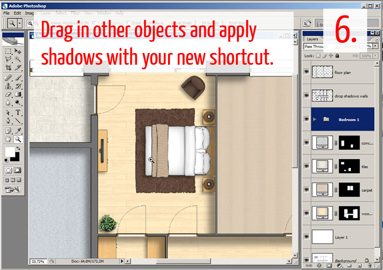 Tutorial Adding Textures Furniture And Shadows In Adobe Photoshop Plan Symbols