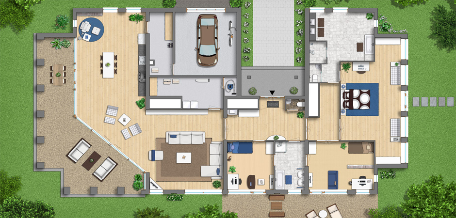 ... objects and textures for rendered floor plans and landscape designs