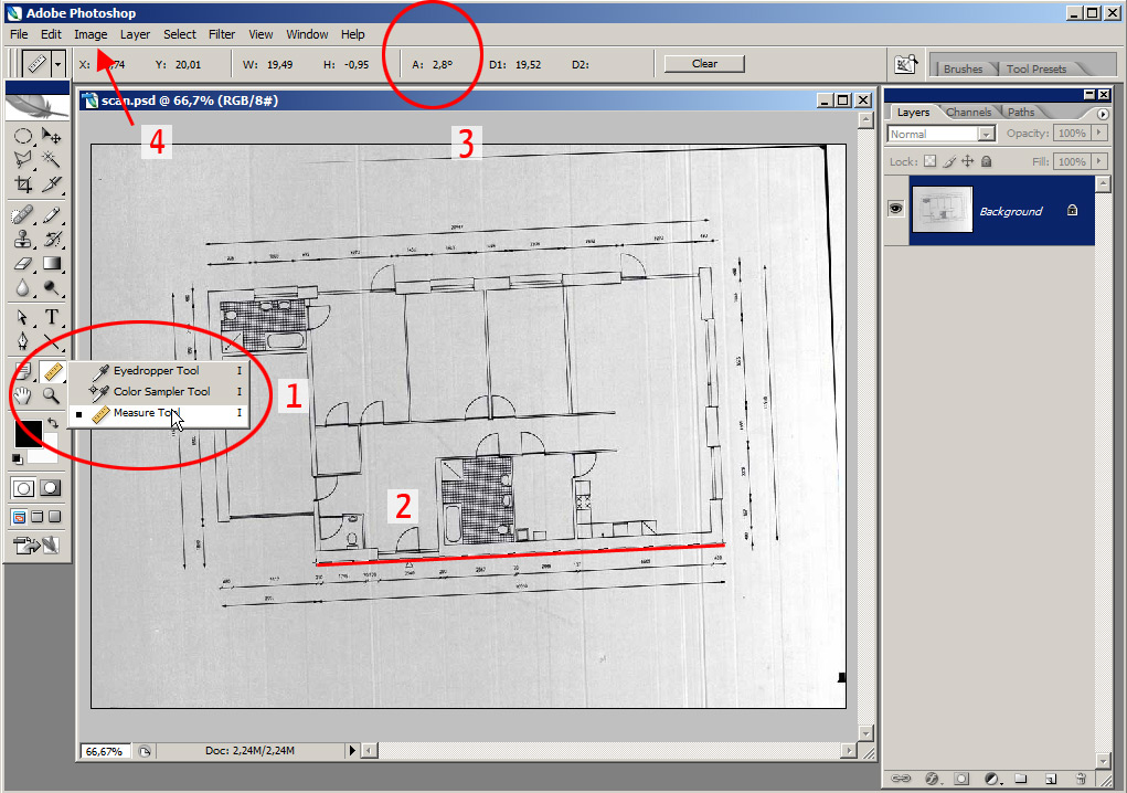 Tutorial rotate and scale a scanned floor plan in adobe for Convert image to blueprint online