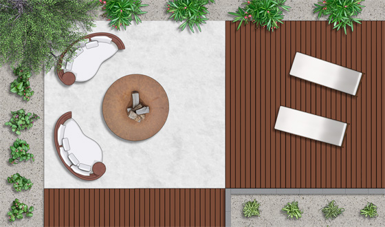 2d landscapde symbols - Garden Furniture Top View Psd